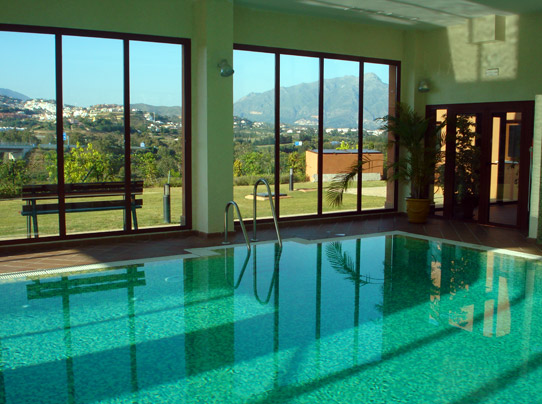 Indoor pool with views